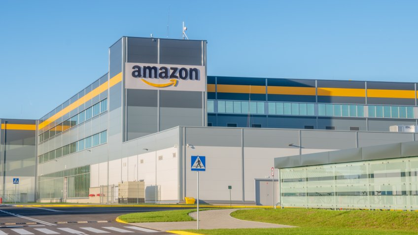 Szczecin, Poland-July 2018: Amazon logistics center near Szczecin in Poland-panorama.