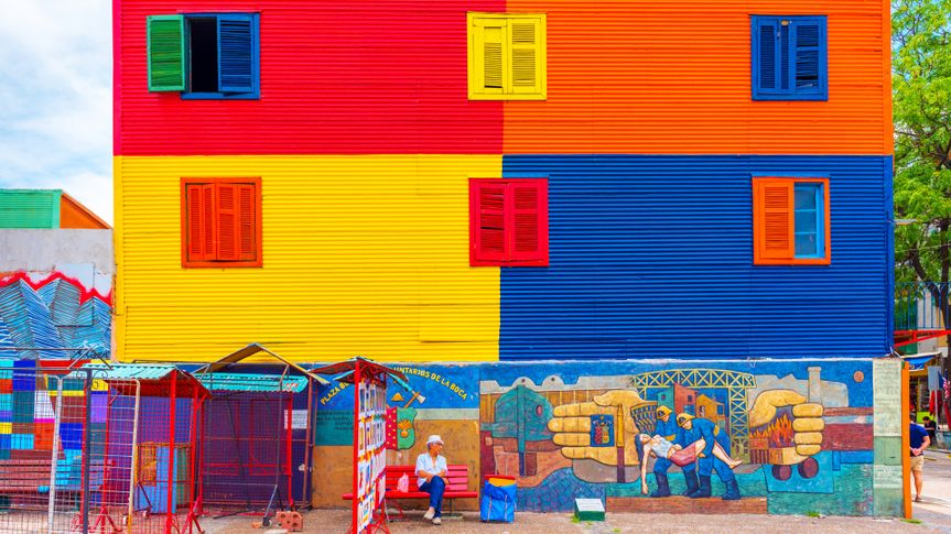 BUENOS AIRES, ARGENTINA - DECEMBER 25, 2017: View of the colorful building in the city center.