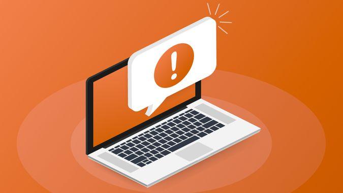 Alert message laptop notification.