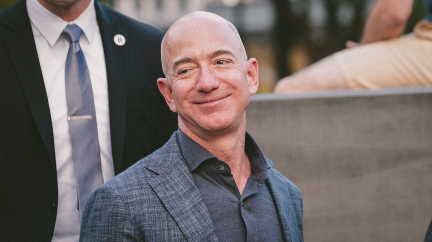New York, NY - May 15, 2019: Jeff Bezos arrives at the Statue Of Liberty Museum Opening Celebration at Battery Park.