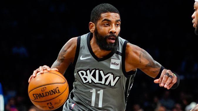 NEW YORK, NY - JANUARY 29:  Kyrie Irving #11 of the Brooklyn Nets drives in an NBA basketball game against the Detroit Pistons on January 29, 2020 at Barclays Center in the Brooklyn borough of New York City.