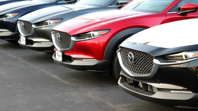 Dublin, Ohio July 5, 2020 Mazda Dealership with late model Cars and Suv's.