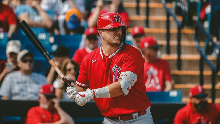 Mandatory Credit: Photo by Sue Ogrocki/AP/Shutterstock (10579080a)Los Angeles Angels' Mike Trout during a spring training baseball game against the Milwaukee Brewers, in Phoenix, ArizAngels Spring Baseball, Phoenix, USA - 08 Mar 2020.