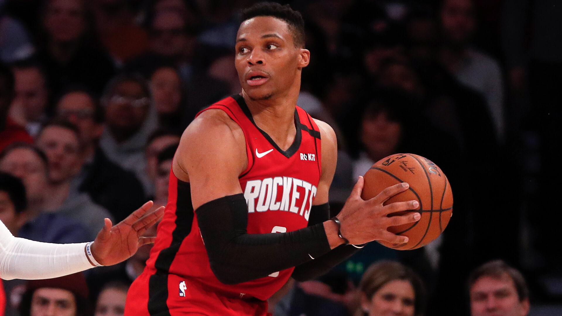 NEW YORK, NEW YORK - MARCH 02: (NEW YORK DAILIES OUT)  Russell Westbrook #0 of the Houston Rockets in action against the New York Knicks at Madison Square Garden on March 02, 2020 in New York City.