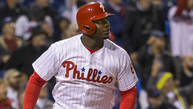 Mandatory Credit: Photo by Christopher Szagola/Csm/Shutterstock (6069865h)Philadelphia Phillies first baseman Ryan Howard (6) hits a double during the MLB game between the New York Mets and Philadelphia Phillies at Citizens Bank Park in Philadelphia, PennsylvaniaNew York Mets v Philadelphia Phillies, MLB baseball game, Philadelphia, USA - 30 Sep 2016.