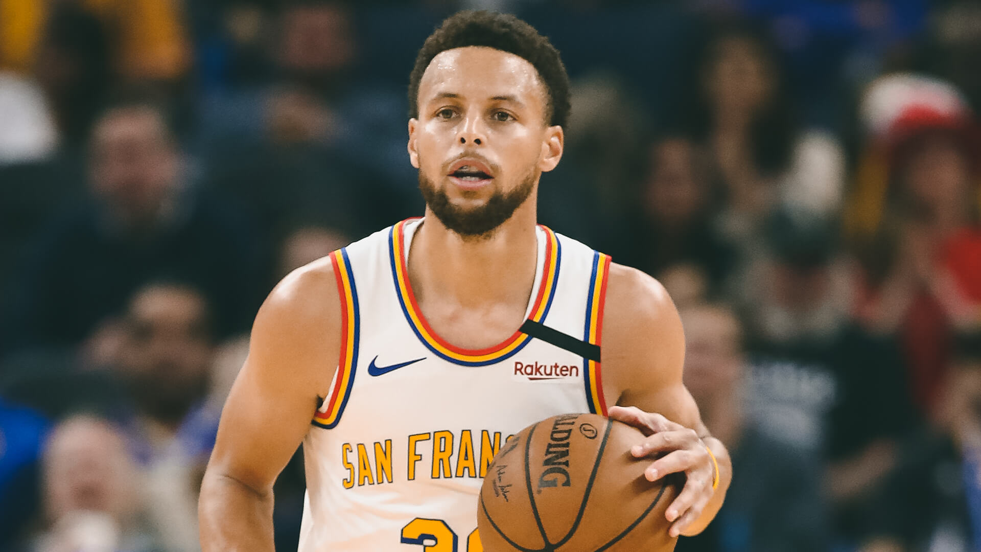 SAN FRANCISCO, CALIFORNIA - MARCH 05:  Stephen Curry #30 of the Golden State Warriors in action against the Toronto Raptors at Chase Center on March 05, 2020 in San Francisco, California.