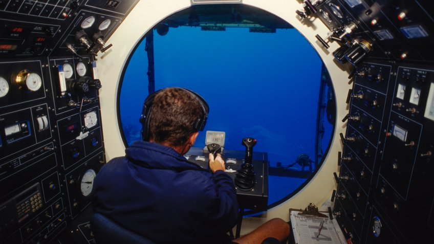 Inside cockpit of underwater submarine.
