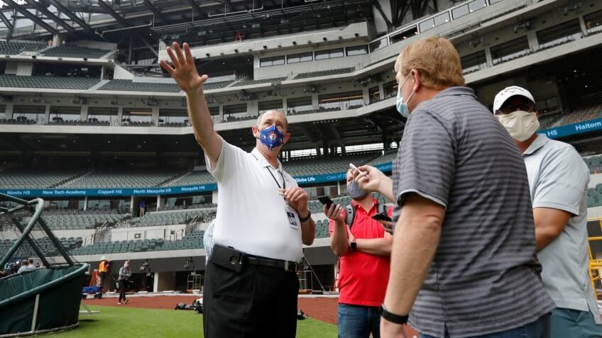 Mandatory Credit: Photo by Tony Gutierrez/AP/Shutterstock (10653420a)Rob Matwick, Executive Vice President of Building Operations, answers questions from reporters during a tour of Globe Life Field, the newly-built home of the Texas Rangers, in Arlington, Texas, .