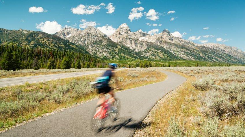 Subject: Mountain biking in the Grand Teton National Park of USA.