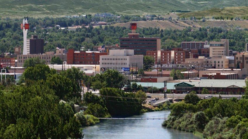 Aerial view of Casper, Wyoming, USA.