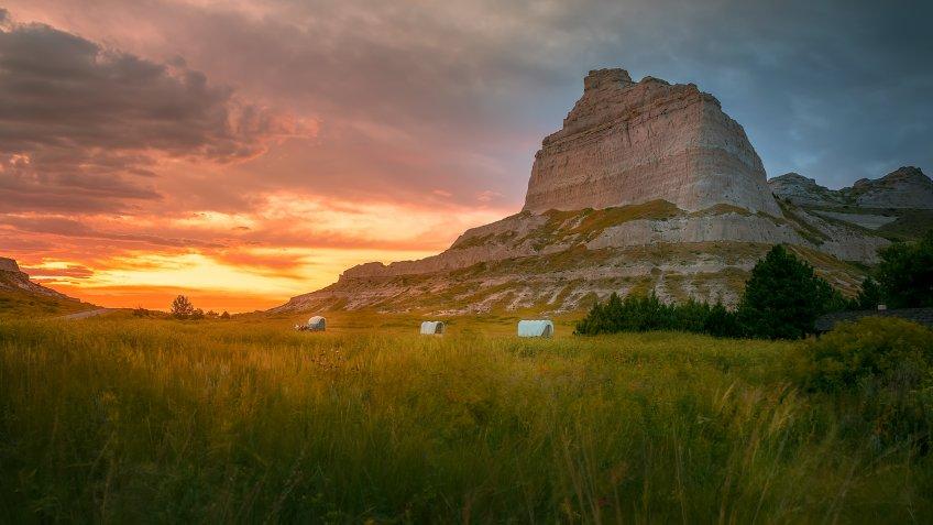 Sunset over Scottsbluff National Monument at Gering Nebraska.