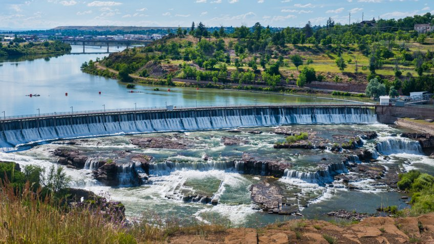 One of a series of 5 waterfalls that cascade over hydroelectric dams along the upper Missouri River in Great Falls, Montana.