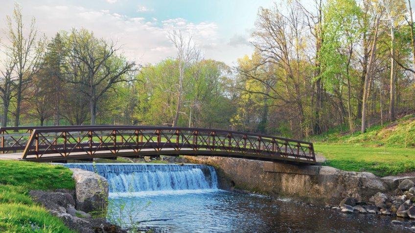 Bridge-Iron Bridge and Waterfall-Kokomo Creek-Howard County Indiana.