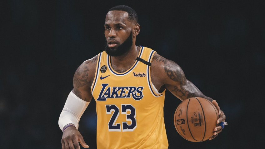 Mandatory Credit: Photo by Marcio Jose Sanchez/AP/Shutterstock (10698777a)Los Angeles Lakers' LeBron James (23) dribbles during the first half of an NBA basketball game against the Brooklyn Nets in Los Angeles.