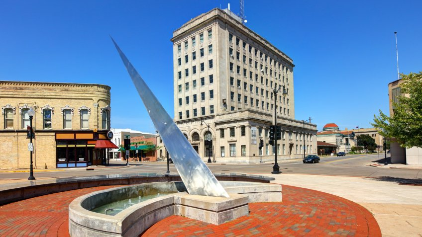 Oshkosh, Wisconsin , USA - June 10, 2017: Daytime view of The Opera House Square Sundial located at the corner of Algoma Ave and Main St in the downtown district.