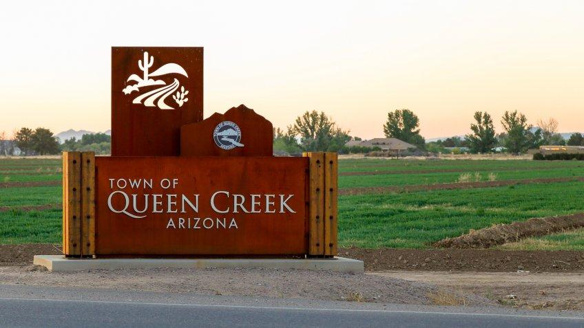 QUEEN CREEK, ARIZONA - April 21, 2019: Town of Queen Creek, Arizona sign located near the intersection of West Combs road and North Gantzel road in Queen Creek, Arizona.