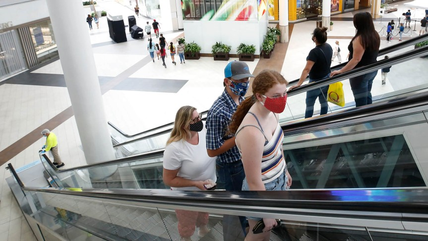 Mandatory Credit: Photo by Rich Pedroncelli/AP/Shutterstock (10684108a)People wearing face masks take an escalator to the second floor of the Arden Fair Mall in Sacramento, Calif.