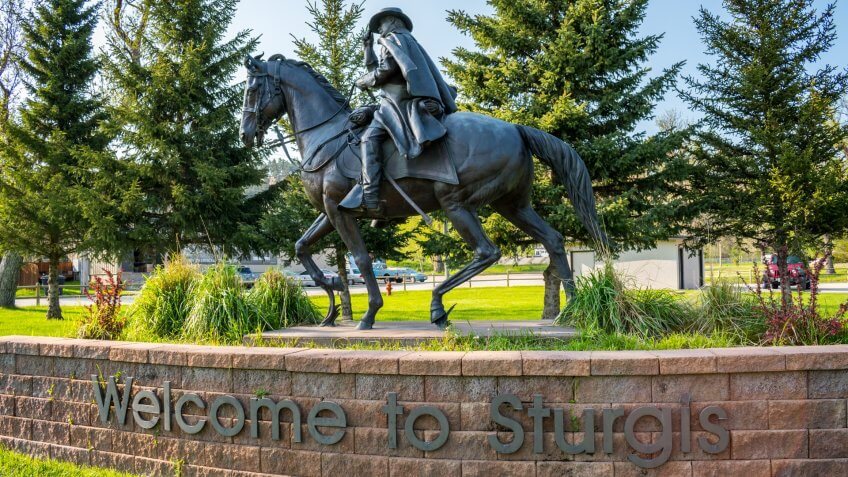 Sturgis, SD, USA - May 29, 2019: A welcoming signboard at the entry point of preserve park.