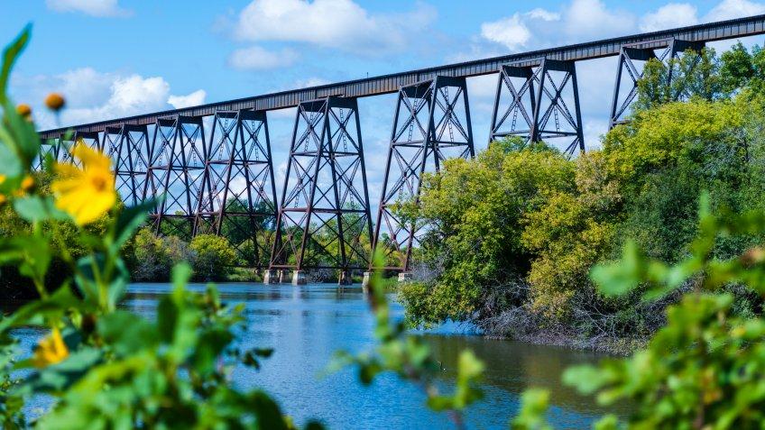 This Bridge runs over the valley in Valley City North Dakota.