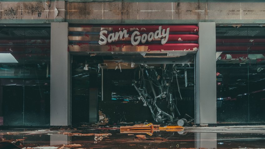 WAYNE, NEW JERSEY/USA - January 2, 2019: Sam Goody (music store) in the abandoned Wayne Hills Mall at 1 Wayne Hills Mall, Wayne, NJ 07470.