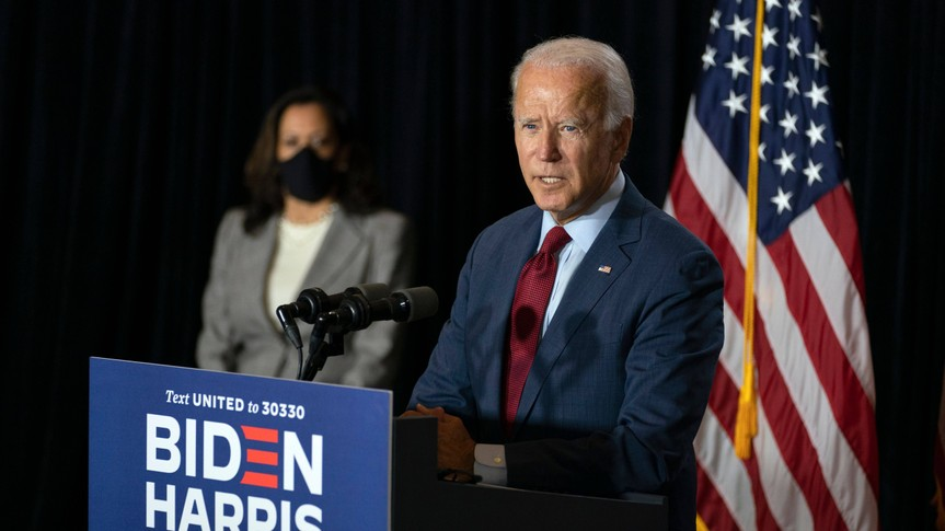 Mandatory Credit: Photo by Carolyn Kaster/AP/Shutterstock (10743621d)Democratic presidential candidate former Vice President Joe Biden joined by his running mate Sen.