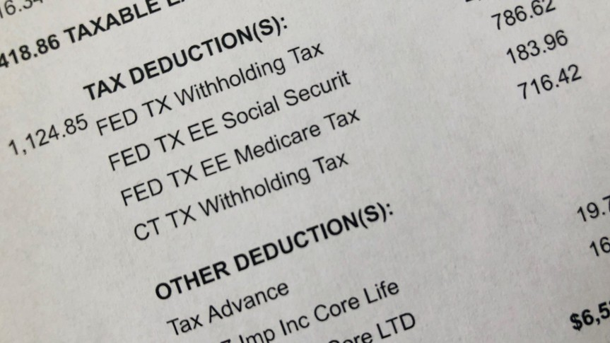 Copy of paystub showing deductions.