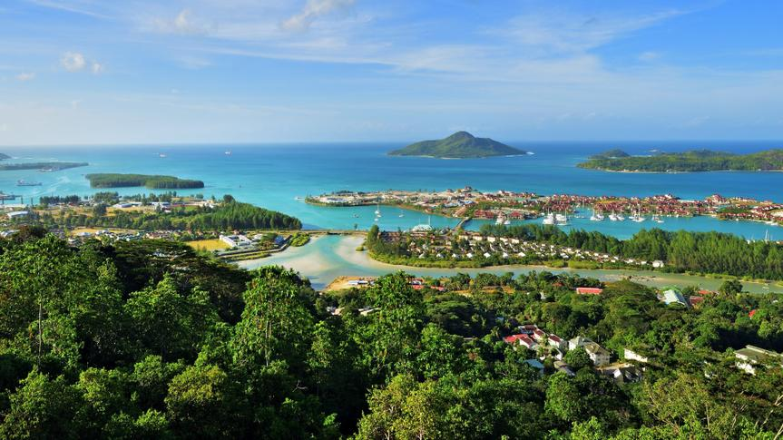 Aerial view on the coastline of the Seychelles Islands and luxury Eden Island from Victoria viewpoint, Mahe.