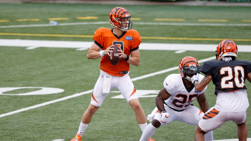 CINCINNATI, OH - AUGUST 30: Joe Burrow #9 of the Cincinnati Bengals looks to pass the football during a scrimmage at Paul Brown Stadium on August 30, 2020 in Cincinnati, Ohio.