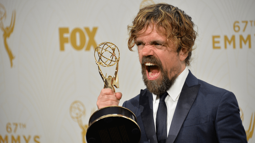 """LOS ANGELES, CA - SEPTEMBER 20, 2015: """"Game of Thrones"""" star Peter Dinklage at the 67th Primetime Emmy Awards at the Microsoft Theatre LA Live."""