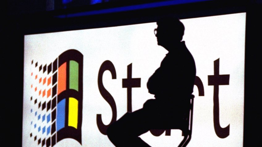 Mandatory Credit: Photo by AP/Shutterstock (6532019a)GATES Microsoft Chairman Bill Gates sits on stage during a video portion of the Windows 95 Launch Event, on the company's campus in Redmond, Wash.