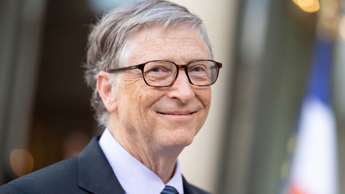 Mandatory Credit: Photo by David Niviere/Sipa/Shutterstock (9634268b)Bill GatesBill Gates and Melinda Gates at the Elysee Palace, Paris, France - 16 Apr 2018.