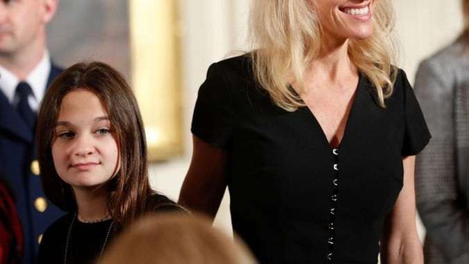 Mandatory Credit: Photo by AP/Shutterstock (8558793f)Donald Trump, Kellyanne Conway, Claudia Conway Counselor to the President Kellyanne Conway and her daughter Claudia take their seats at the Women's Empowerment Panel, at the White House in WashingtonPence, Washington, USA - 29 Mar 2017.