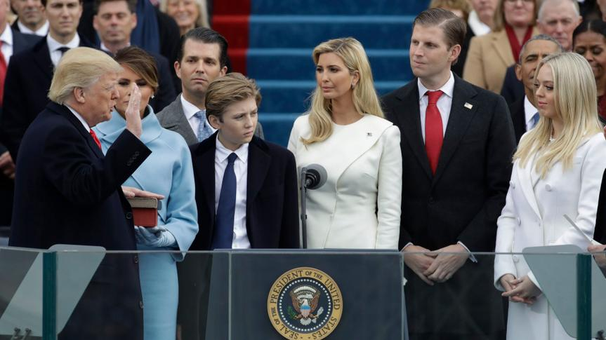 Mandatory Credit: Photo by Patrick Semansky/AP/Shutterstock (7936306bu)Donald Trump is sworn in as the 45th president of the United States by Chief Justice John Roberts as Melania Trump and his children look on during the 58th Presidential Inauguration at the U.