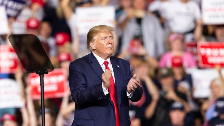 Manchester, NH - August 15, 2019: President Donald Trump speaks during campaign MAGA rally at Southern New Hampshire University Arena