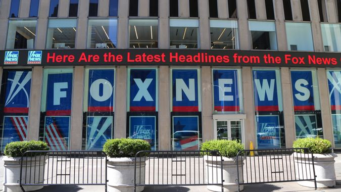 NEW YORK - APRIL 26, 2018: Fox News Channel at the News Corporation headquarters building in New York City. News Corporation is an American diversified multinational mass media corporation