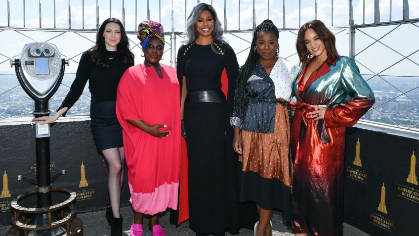 Mandatory Credit: Photo by Erik Pendzich/Shutterstock (10347936bn)Laura Prepon, Danielle Brooks, Laverne Cox, Uzo Aduba, Dascha Polanco'Orange Is The New Black' TV show cast at the Empire State Building, New York, USA - 26 Jul 2019.