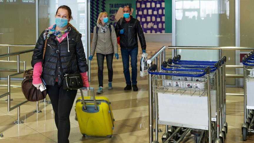 Boryspil airport, Ukraine, March 22, 2020, arrivals gate, passengers of special flights organized to return people back home during coronavirus outbreak.