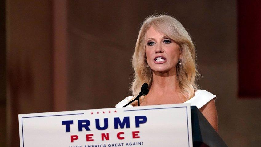 Mandatory Credit: Photo by Susan Walsh/AP/Shutterstock (10756703l)White House counselor Kellyanne Conway tapes her speech for the third day of the Republican National Convention from the Andrew W.