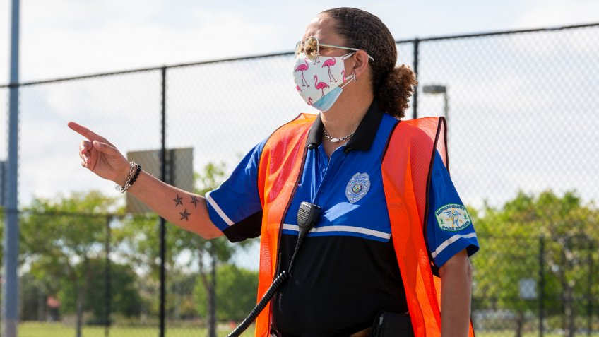 Lauderhill, Florida/USA - May 11, 2020: Park Ranger in face mask n95  during COVID-19 coronavirus pandemic.