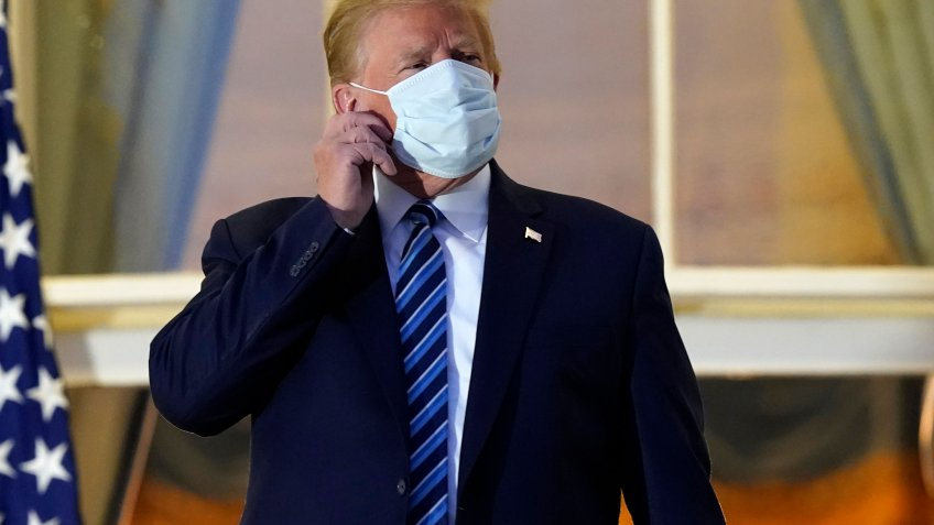 Mandatory Credit: Photo by Alex Brandon/AP/Shutterstock (10911987r)President Donald Trump removes his mask as he stands on the balcony outside of the Blue Room as returns to the White House, in Washington, after leaving Walter Reed National Military Medical Center, in Bethesda, Md.