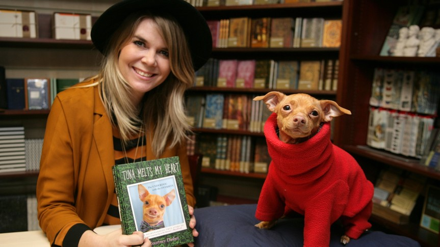 Mandatory Credit: Photo by Geoffrey Swaine/Shutterstock (5585914e)Courtney Dasher and Tuna The ChiweenieCourtney Dasher and Tuna the dog book signing, Oxford, Britain - 11 Feb 2016Courtney Dasher and Tuna the dog at Blackwells in Oxford to promote their book 'Tuna Melts My Heart'.