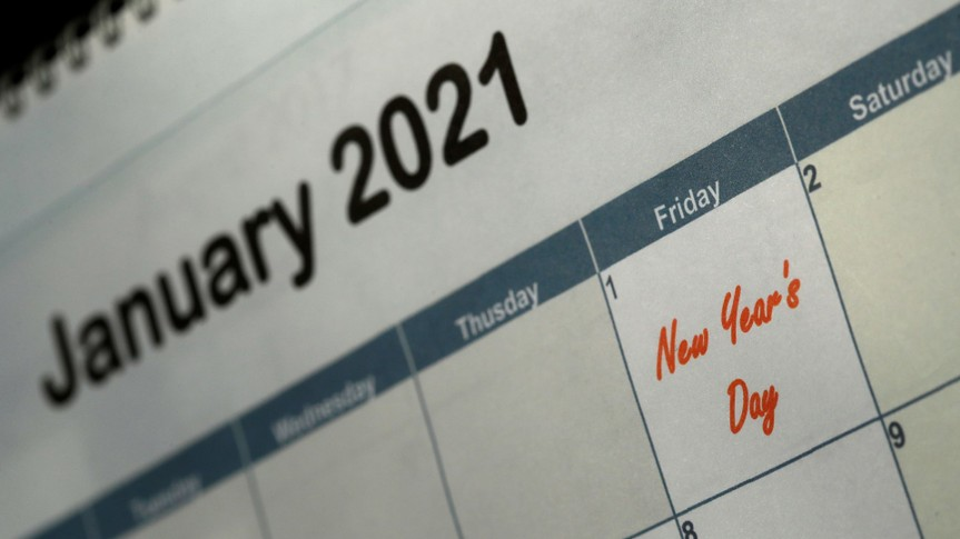 Mandatory Credit: Photo by Charlie Riedel/AP/Shutterstock (10712789b)New Year's Day is seen on a 2021 calendar, in Overland Park, KanNew Year's Day, Kansas City, United States - 10 Jul 2020.