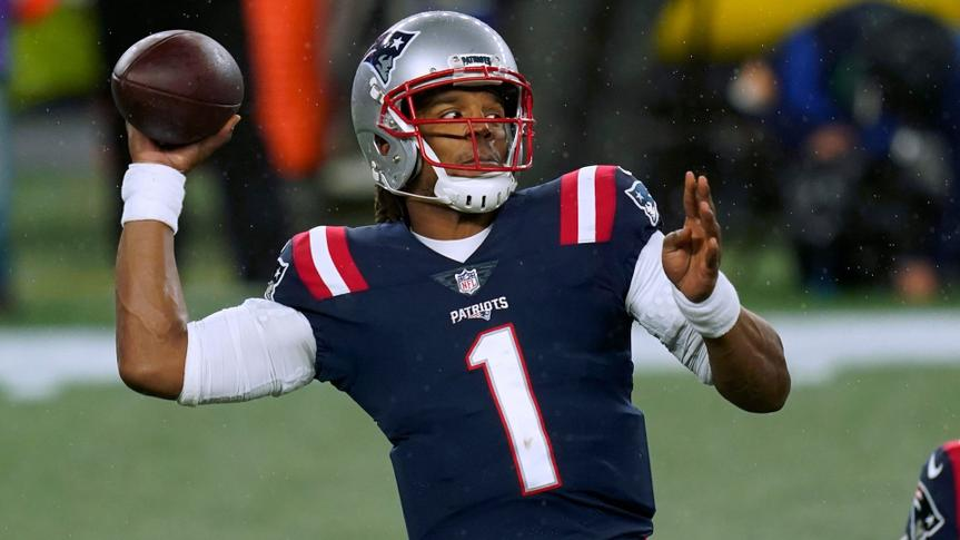Mandatory Credit: Photo by Elise Amendola/AP/Shutterstock (11017466e)New England Patriots quarterback Cam Newton passes against the Baltimore Ravens in the first half of an NFL football game, in Foxborough, MassRavens Patriots Football, Foxborough, United States - 15 Nov 2020.