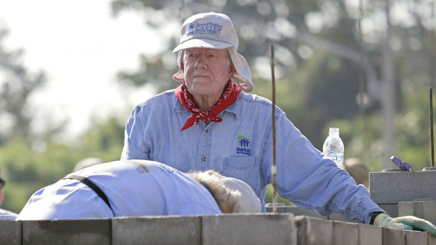 Mandatory Credit: Photo by Pongmanat Tasiri/EPA/Shutterstock (8303977c)Former Us President Jimmy Carter Helps to Build a House During the Annual Habitat For Humanity Build Project in Nong Kon Kru Village San Sai District Chiang Mai Province Northern Thailand 16 November 2009 Carter is in Northern Thailand Accompanied by Celebrities Including Chinese Movie Star Jet Li and Former Japanese Soccer Star Hidetoshi Nakata to Build a Community of 82 Houses the Number 82 Has Been Chosen to Honor the 82nd Birthday of Thai King Bhumibol Adulyadej On 05 December and the Project is a Part of 'The 2009 Jimmy & Rosalynn Carter Work Project: the Mekong Build' Which Will Involve Nearly 3 000 Volunteers From Around the World Building and Repairing Homes in Thailand Vietnam China Cambodia and Laos All Countries Along Mekong RiverThailand Habitat Carter - Nov 2009.