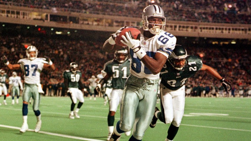 Mandatory Credit: Photo by Chris Gardner/AP/Shutterstock (6499899a)Irvin Dallas Cowboys Michael Irvin fields a pass for a touchdown against the Philadelphia Eagles during the first quarter of their game in PhiladelphiaNFL Hall of Famers, PHILADELPHIA, USA.