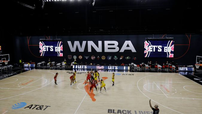 Mandatory Credit: Photo by Chris O'Meara/AP/Shutterstock (10741532j)The Las Vegas Aces and Indiana Fever tip off during the first half of a WNBA basketball game, in Bradenton, FlaAces Fever Basketball, Bradenton, United States - 11 Aug 2020.