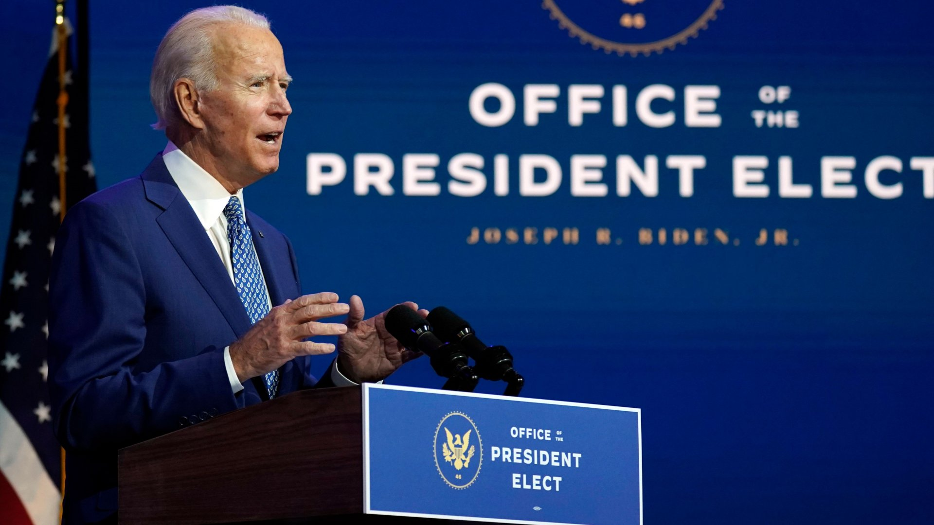 Mandatory Credit: Photo by Carolyn Kaster/AP/Shutterstock (11009100p)President-elect Joe Biden speaks, at The Queen theater in Wilmington, DelBiden, Wilmington, United States - 09 Nov 2020.
