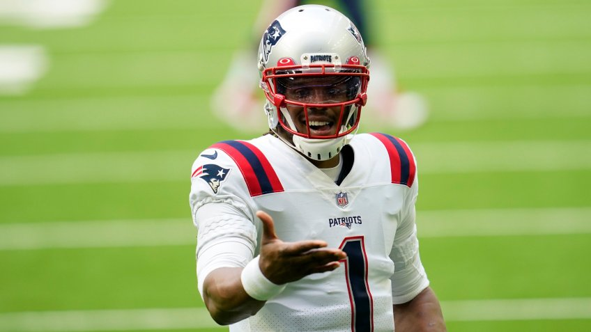 Mandatory Credit: Photo by Matt Patterson/AP/Shutterstock (11028862pu)New England Patriots quarterback Cam Newton (1) looks to celebrate after a touchdown pass during an NFL football game against the Houston Texans, in HoustonPatriots Texans Football, Houston, United States - 22 Nov 2020.