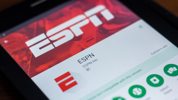Ryazan, Russia - March 21, 2018 - ESPN mobile app on the display of tablet PC.