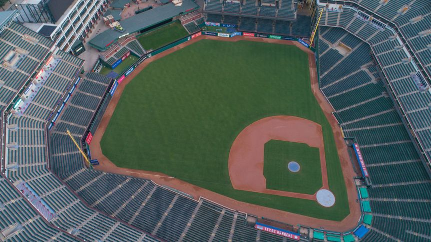 ARLINGTON, TEXAS, USA - AUGUST 1, 2018:Aerial drone photo Globe Life Park in Arlington
